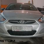 Установка линз в штатные фары Hyundai Solaris